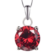 Garnet Pendant 925 Sterling Silver Free Shipping Fashion Attractive Jewelry Pendant PP19 CZ Created Crystal Zircon