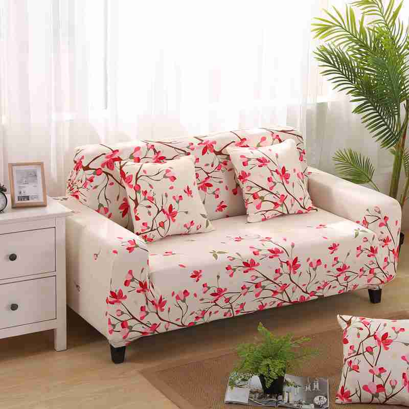 Pleasing Us 20 1 33 Off Pretty Peach Blossom Pattern Sofa Covers Ideal For One Two Three Four Seat Non Slip Chaise Cover Full Body Install Couch Covers In Pabps2019 Chair Design Images Pabps2019Com