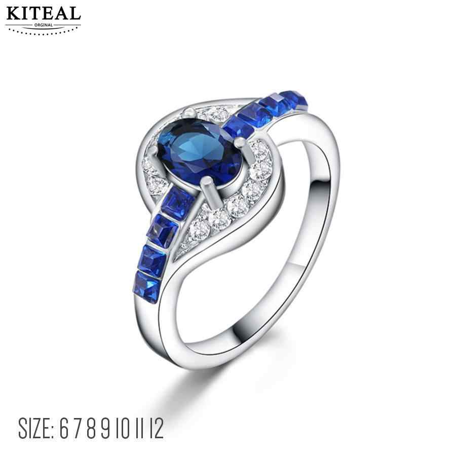 KITEAL Silver Plated Double Fair Twisted Zirconia Cubic Zirconia Inlay Shine คริสตัลเครื่องประดับหมั้น anel aneis