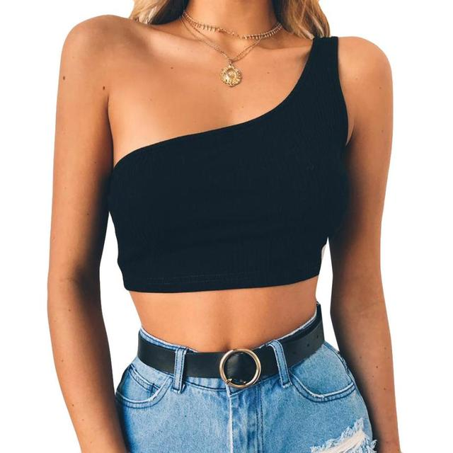 9877a695af2756 Kobiety Lato 2018 koszulki Sexy Kamizelka Moda Bluzka Camisole Bawełniana Bez  Rękawów Crop Top Zwykły Ramię