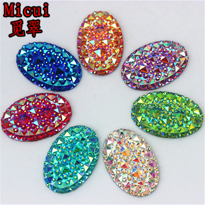 Micui 20PCS 20*30MM Newest AB Clear Oval Resin Rhinestones Crystal flatback Beads crafts Scrapbooking Clothing Accessories ZZ519