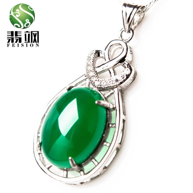 2017 Hot Fashion Lucky Girl Green Jade Pendant Auspicious Peace Silver Necklace Simple Design Style Charm Women Jewelry