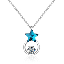 Everoyal Fashion Crystal Blue Star Pendant Necklace For Women Jewelry Charm Silver 925 Choker Necklace Girls Accessories Female everoyal new arrival female crystal pendant necklaces for women jewelry fashion silver 925 girls choker necklace accessories