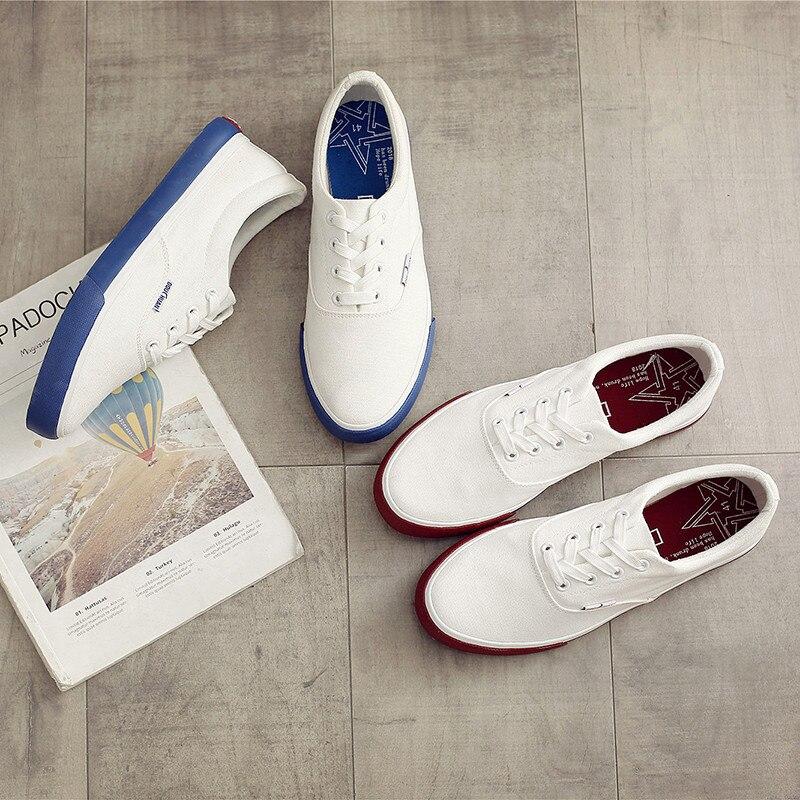 Men's Canvas Casual Shoes Men Fashion Male Lace up Flats White Men Flat Heel Sneakers Tenis Masculino Zapatillas