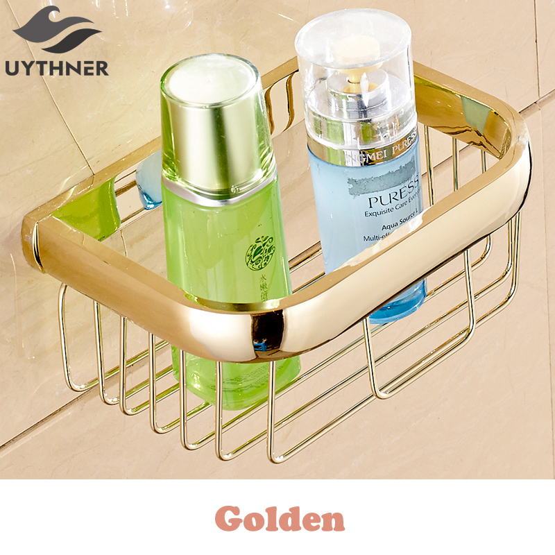 Uythner  Free Shipping Wall mounted Golden Bathroom Toilet Paper Holder Using for  Put On Toilet Paper & Mobile Phone luxury golden color toilet paper holder wall mounted roll toilet paper rack with cover bathroom accessories free shipping 3308