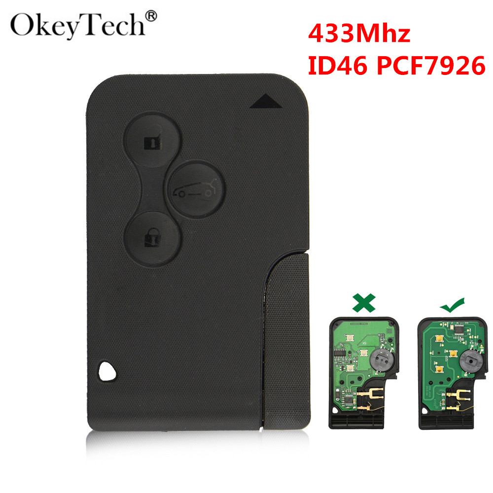 Okeytech 433Mhz ID46 PCF7926 Chip With Emergency Insert Blade Smart Car Remote Key 3 Button For Renault Megane Scenic 2003-2008 купить недорого в Москве