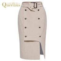 Queenus 2017 Autumn Winter Women Skirt Belted Mid Calf Apricot Skirts Straight Plain Asymmetric Women Business