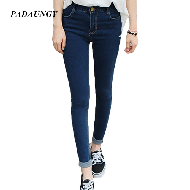 PADAUNGY Hot Jeans With High Waist Slim Pencil Pants Jeggings Denim Trousers Vaqueros Mujer Plus Size Jegging Pantalone Mujer