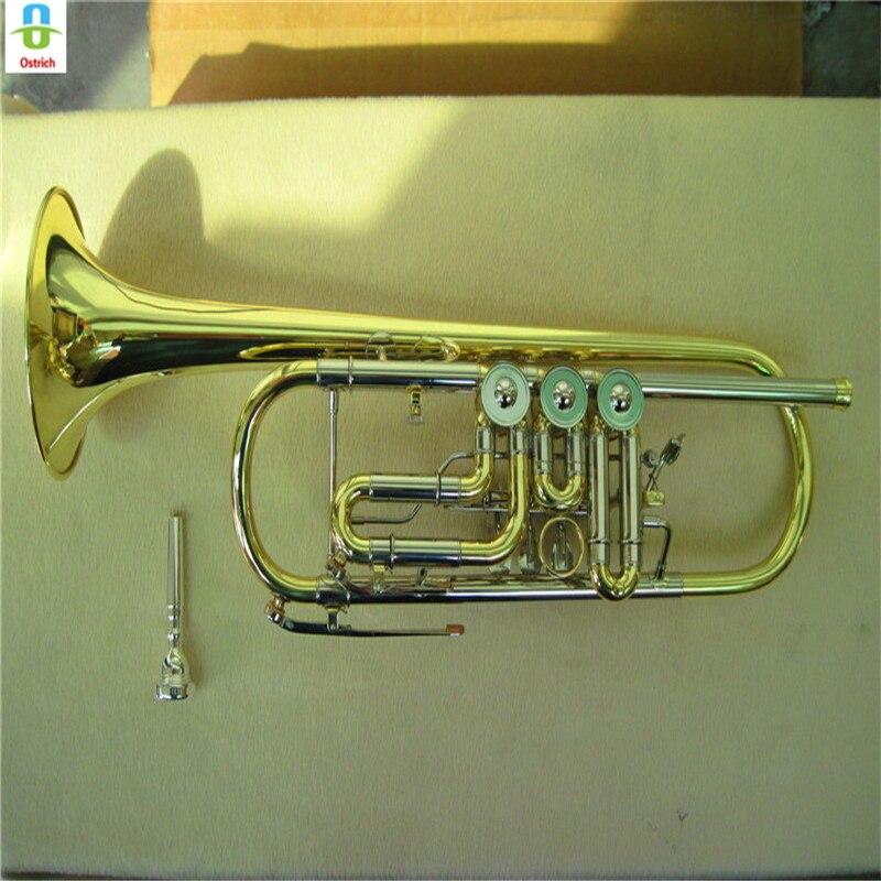 Nouvel étudiant d'autruche Bb trompette professionnelle joli corps en bronze phosphoreux, support de musique et Kit de nettoyage