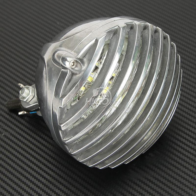 5 Chrome COB LED Deep Cut Grill Motorcycle Headlight For Harley Dyna Softail Sportster Touring V-Rod ... black headlight grill cover for harley sportster xl883 1200 04 up softail cover headlight covers 5 3 4