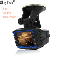 OkeyTech הטוב ביותר 2 ב 1 רכב DVR מקליט מצלמה גלאי רדאר G-חיישן זווית רחבה 140 תואר רדאר נגד רוסית ואנגלית קול