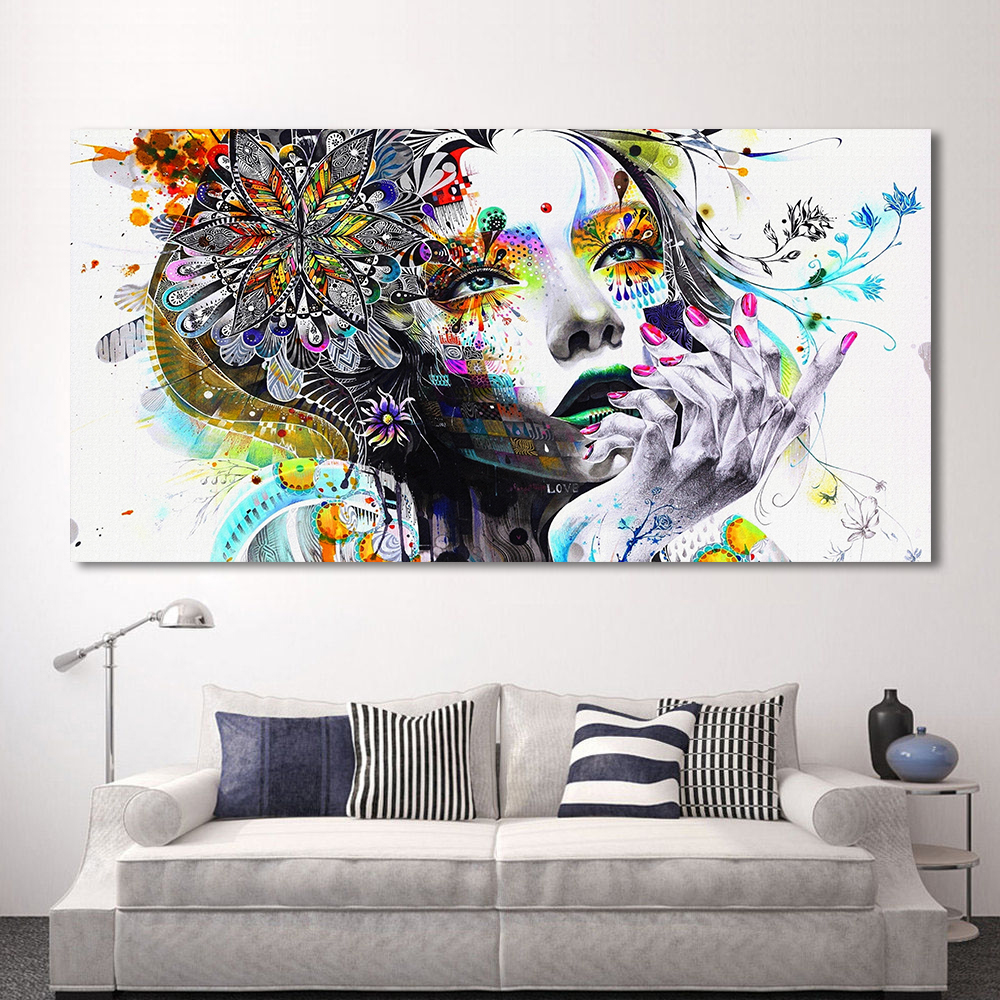 HDARTISAN Modern Canvas Art Girl With Flowers Väggbilder för vardagsrum Modular Pictures Home Decor Frameless