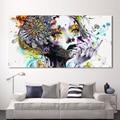 HDARTISAN lienzo moderno arte chica con flores imágenes de pared para sala de estar imágenes modulares decoración del hogar sin marco