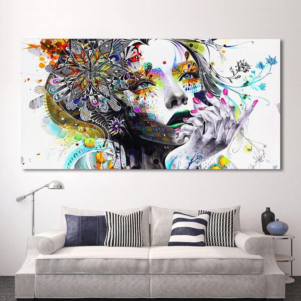 Hdartisan moderno lienzo chica con flores Wall imágenes para la sala cuadros modulares Decoración para el hogar sin marco