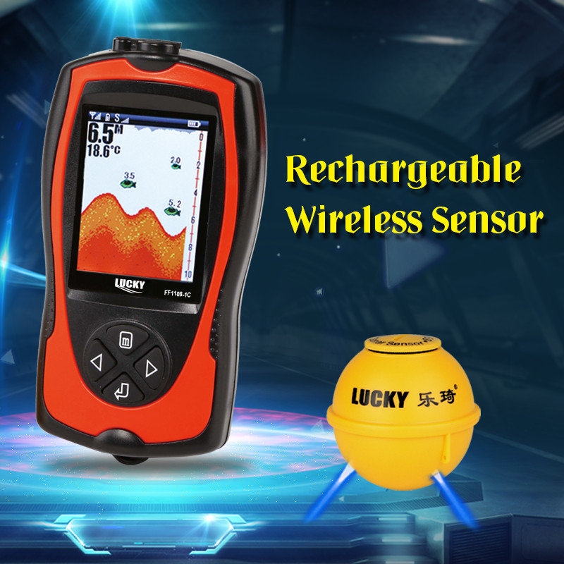 Brand New Lucky Wireless FF1108CWLA Fish Detecting Sonar 90 Detecting Degree And 45M Detecting Depth For Ice Boat Fishing#C1 эхолот lucky ff 916 wi fi