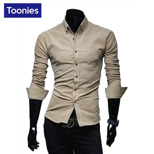 2017 de La Moda de Pana Camisas de Los Hombres de Algodón Slim Fit Camisa Para Hombre de Manga Larga Camisa Masculina Sociales Chemise Homme Casuales Overhemd Heren
