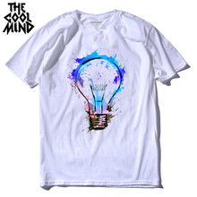 Casual Men's T-Shirt Printed Fire Light Bulb
