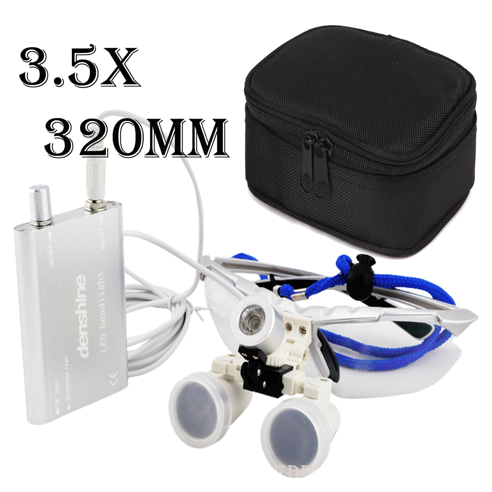 Free Shipping 3.5X 320mm Dental Surgical Medical Binocular Loupes + LED Head Light Lamp + Protective Case 6 0x 6x magnifications binocular dental loupes surgical medical dentistry frame 420mm free shipping