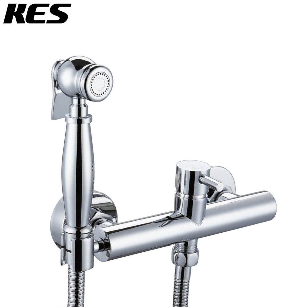 KES Toilet Bidet Sprayer Faucet Mixing Valve with Hose, Bracket and ...