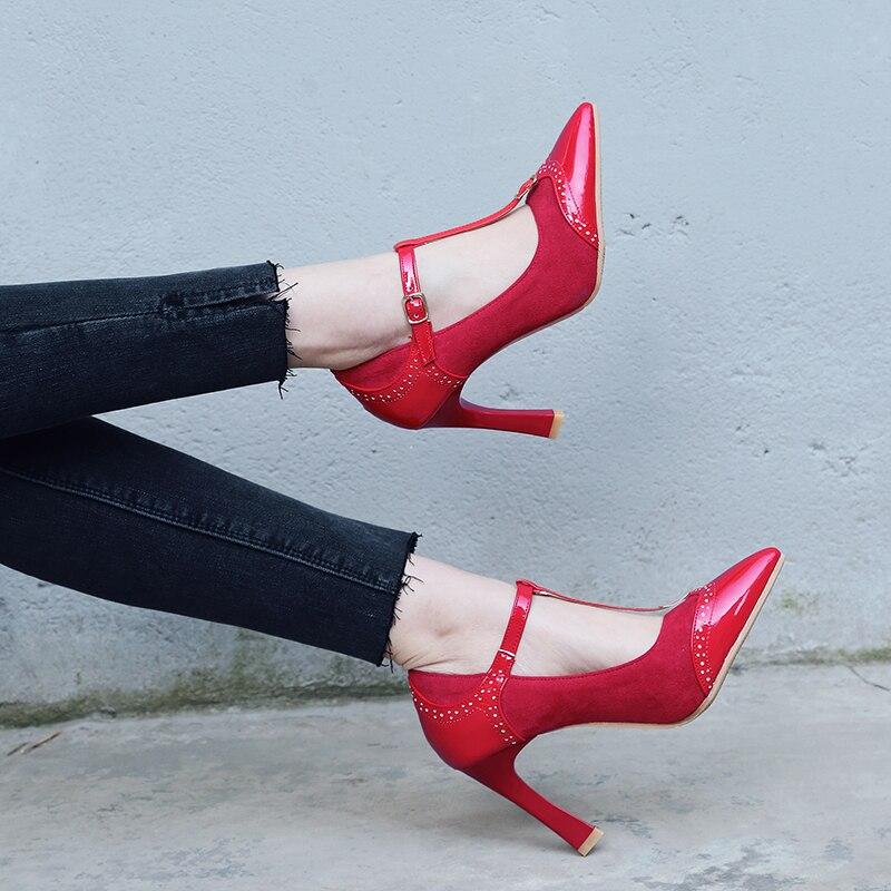 Bureau Beige rouge Noir Beige Dames Chaussures noir Nouvelle Élégante Bout Mode S Sh122 Femmes Taille Plus 43 Pompes Femme Romance Pointu Rouge 34 2019 xgT4qwOUn