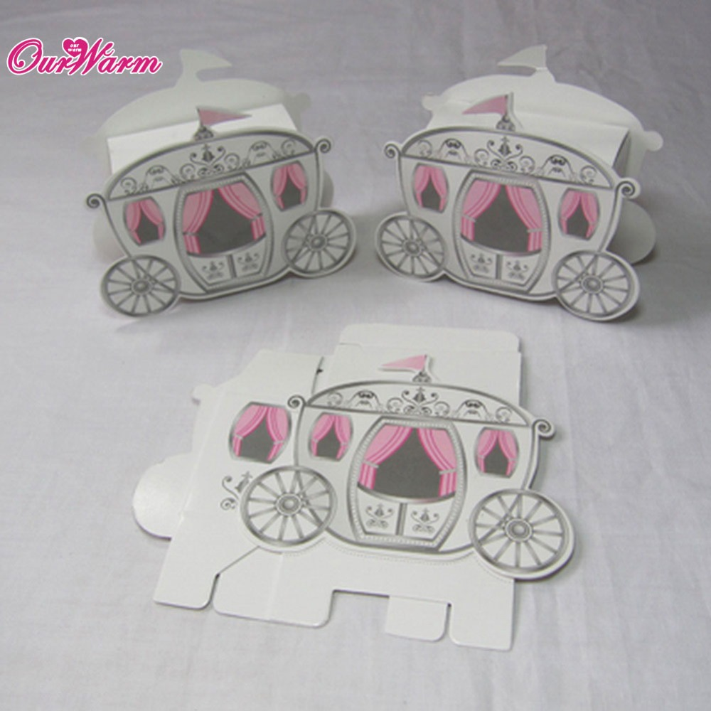 100pcs/lot Cinderella Carriage Pumpkin Coach Gift Box Wedding Party ...