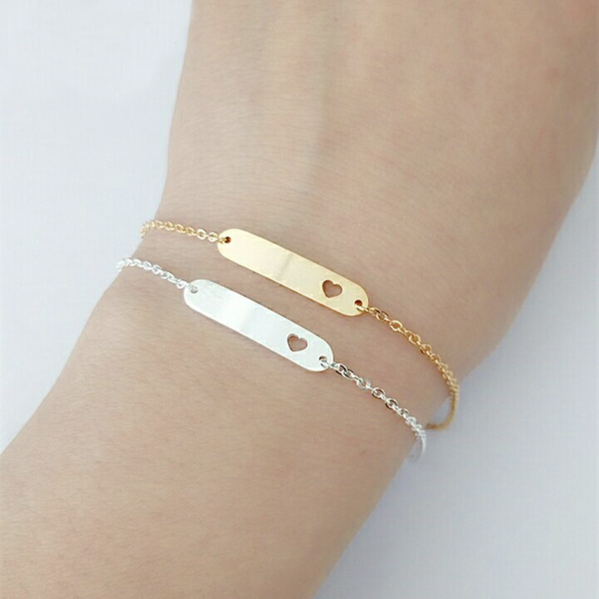 Delicate Bar Cut Out Heart Charm Bracelet For Women Minimalism Jewelry Stainless Steel Gold Chain Friendship Bracelet Gifts BFF