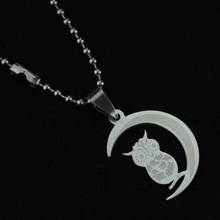 1pcs Mixed Stainless Steel Moon Owl Pendant Necklace Titanium Free Bead Chain