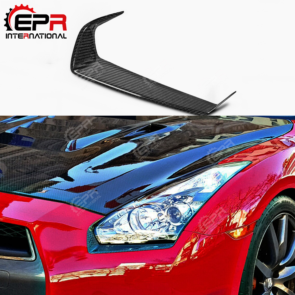 For Nissan R35 GTR Carbon Fiber Eyebrow Car Styling GT R Fibre Eyelid Body Kit Tuning