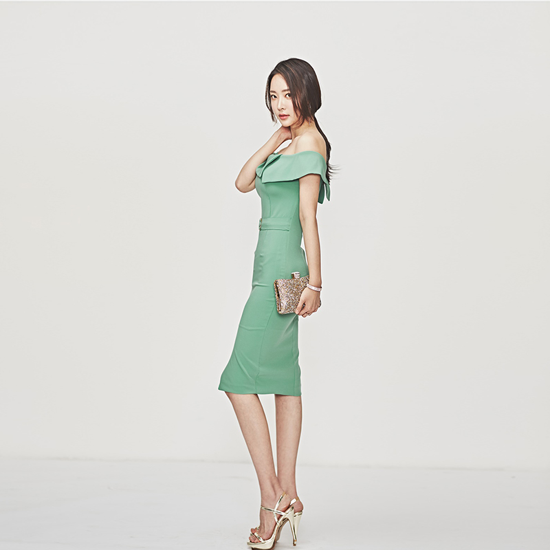 Women Summer New Korean Slash Neck Shoulder Sleeveless Bag Hip Waist Office Lady Knee Length Pencil Dress Vestidos With Zippers in Dresses from Women 39 s Clothing