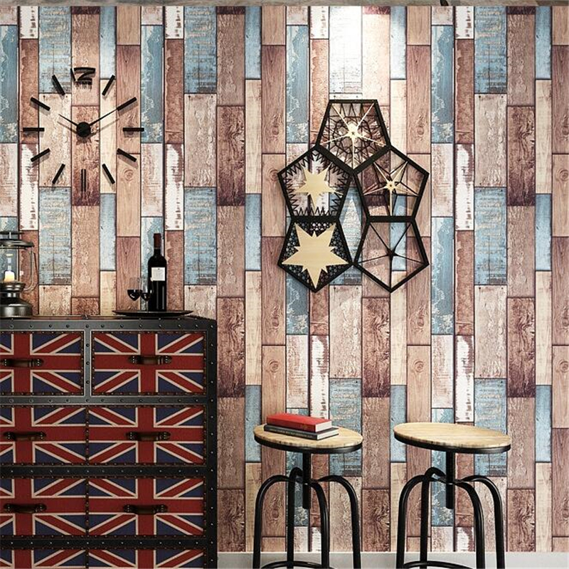 Beibehang Retro Wood grain Waterproof Thick Wallpaper Hotel 3D living room room Background Interior 3D Wallpaper papel parede