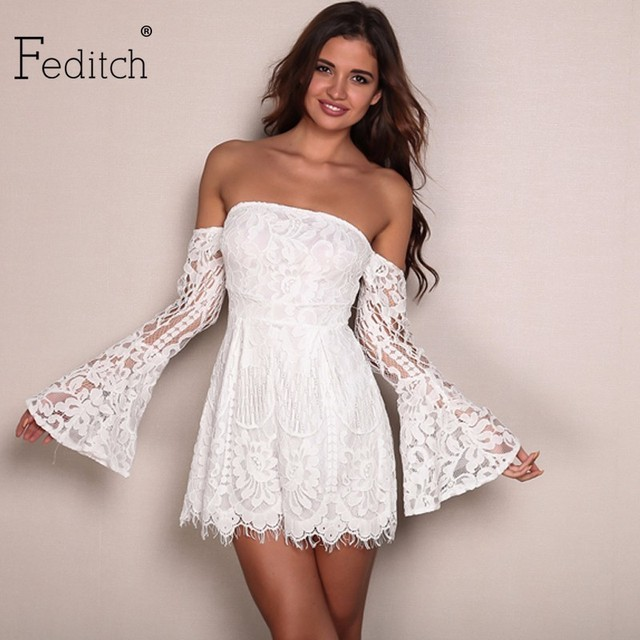 b90967bd359 Feditch Women s Lace Strapless Jumpsuit Summer Bodycon Playsuit Clubwear  Beach Party Short Romper Suit 2017 Sexy
