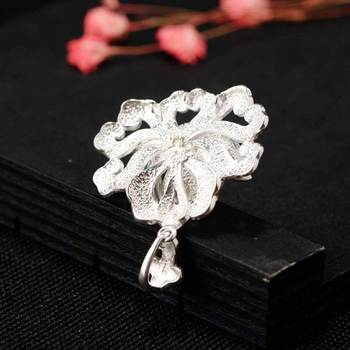 FNJ 925 Silver Flower Pendant for Jewelry Making Natural Heitan Jade Stone Original Pure S925 Sterling Silver Pendants Women