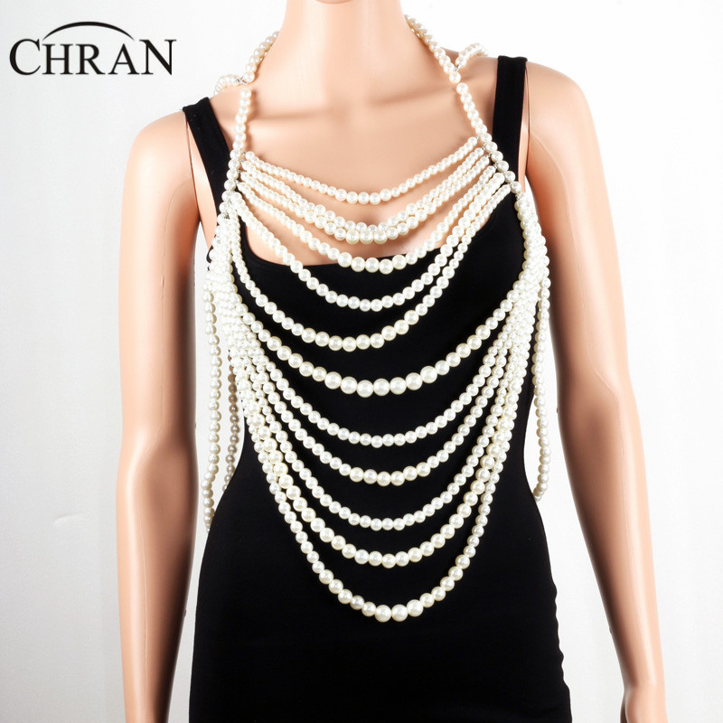 Chran Multi Layer Fashion Women Full Body Faux Pearl Statement Necklace Chain Slave Necklace Beach Chain Halter Jewelry BDC820 gold multi layer necklace sweater chain necklace