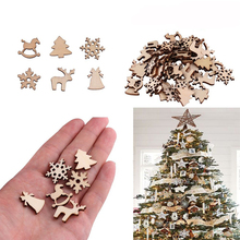 50pcs Christmas Tree Decoration Natural Wooden DIY Hanging Ornaments Pendant Gifts Snow Flakes Deer Table Bottle Hot Sale