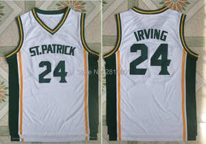 9c75a4599c79 High School White Throwback Basketball Jersey Stitched Kyrie Irving Shirt