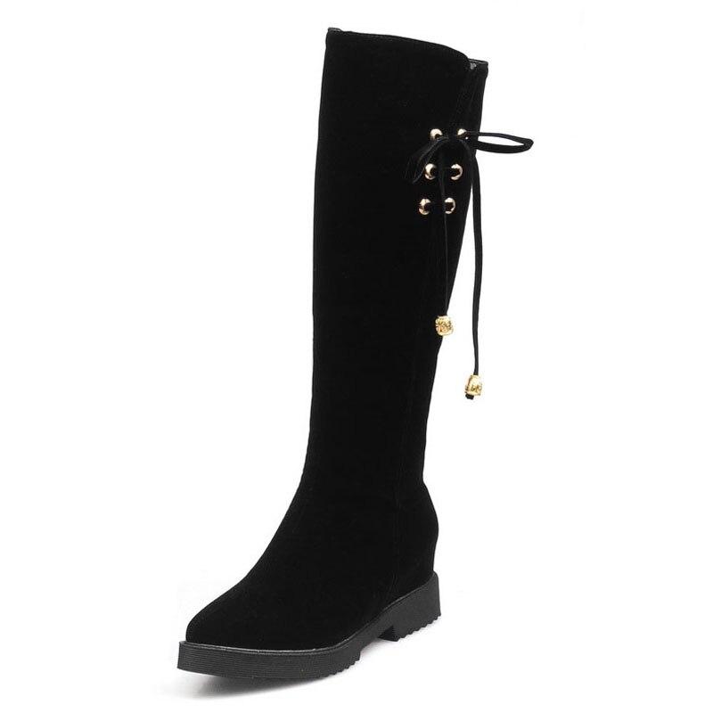 2016 Plus Size 34 43 Nubuck Knee Boots Women Knot Add Fur Autumn Winter Boots Hidden