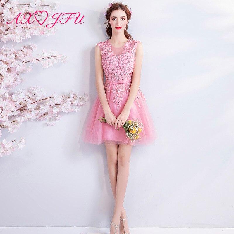AXJFU pink lace flower   evening     dress   luxury bride princess o neck beading flower bow ruffles   evening     dress   1101