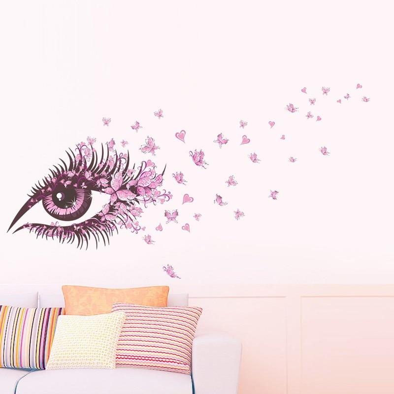 ჱOjo Flor de mariposa etiqueta de la pared Sala decoración tatuajes ...