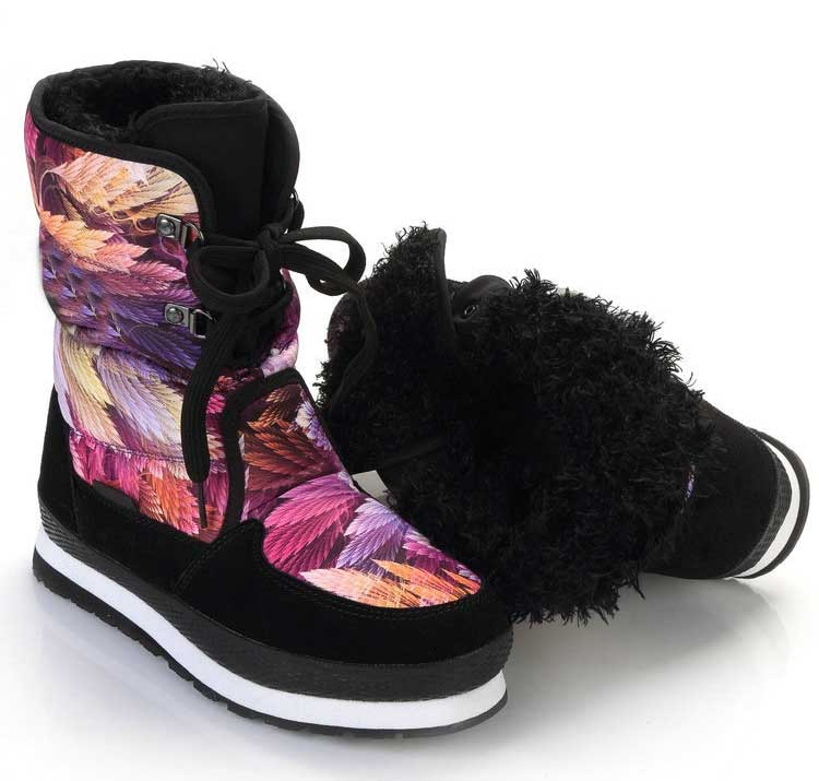 Calzado Impermeable Zapatos Negro Calientes Mujer Nieve Chaussure Felpa Mujeres Con Impresión multiple Invierno Botas Gruesas H4zwxETP