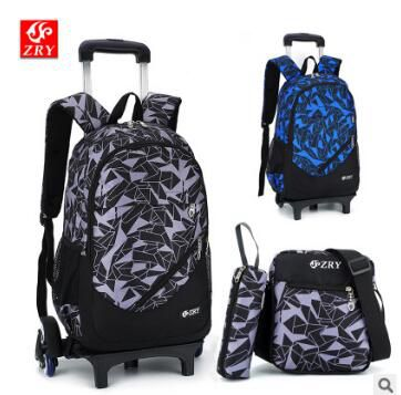 цена kid rolling school backpack Children wheeled school backpack for Boys school bag set trolley School backpack bag on wheels
