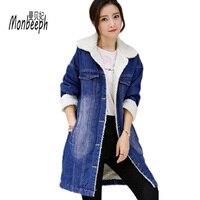 Women Denim Jacket Winter New Fashion Long Sleeve Thicken Warm Cashmere Female Jeans Coat Casual Quality Monbeeph Winter Coat