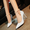 2016 Sexy High Heels buckle Shoes OL Woman Hollow Pointed Toe High Heel Women Pumps Designer brand Women Dress Shoes hollow