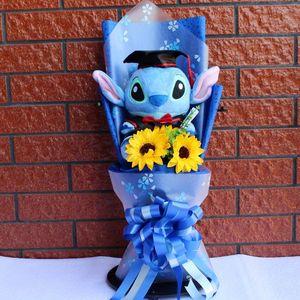 Image 1 - Большая стежка доктор шляпа Ститч Кот Дораэмон Тоторо плюшевый мишка плюшевые куклы игрушки мультяшный цветок букет для студентов школьного возраста детские игрушки