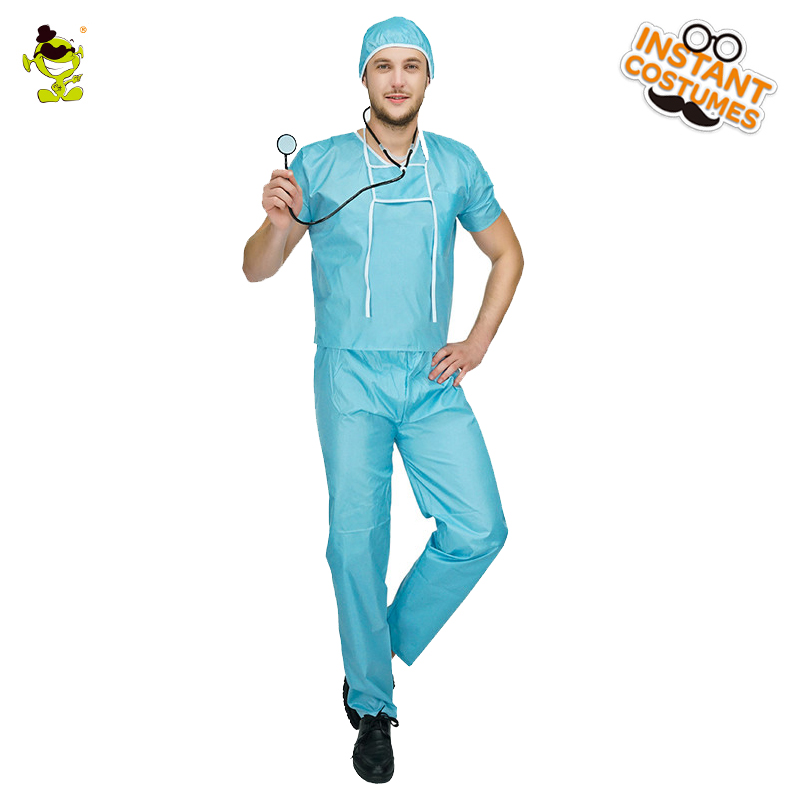 Hot Sale Mens Surgeon Costume Halloween Party Cosplay Hospital Doctor Uniform For Adults Role Play Doctor Costumes