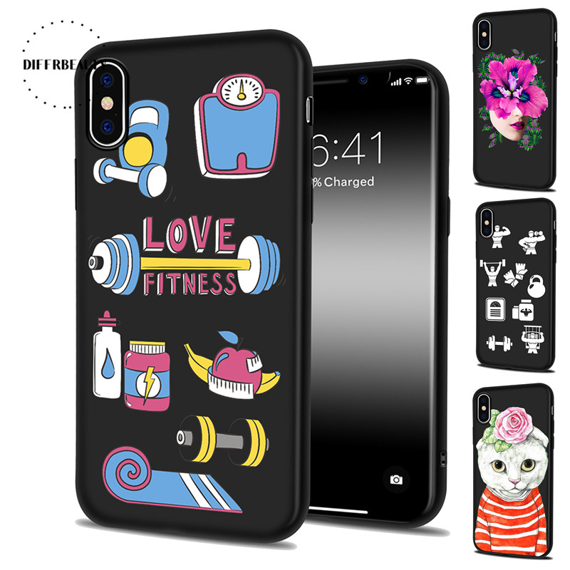 Phone Cases For iPhone X 8 7 6S Plus 5SE Flower Dumbbells Cute Sports Equipment DIFFRBEAUTY Silicone Black TPU Soft Shell Coque