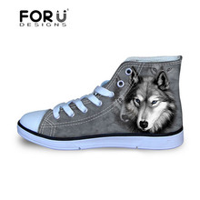 FORUDESIGNS Black Mens Shoes Pit Bull Dog Wolf Printed Canvas Shoes for Men Teen Flats Shoes 2016 Hot Sale Casual Shoes Male