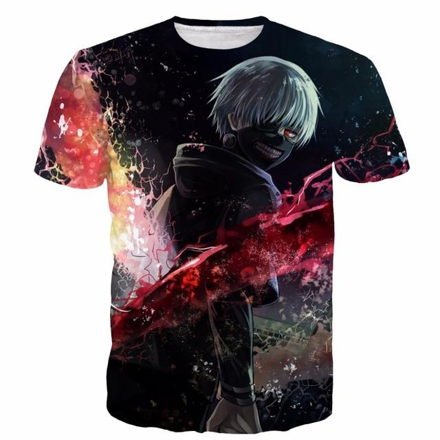Hombres Mujeres Harajuku Camiseta Del Anime de Tokio Ghoul camisetas arte Kaneki Impresiones 3D t shirt Hipster Hip Hop Camisetas Tops