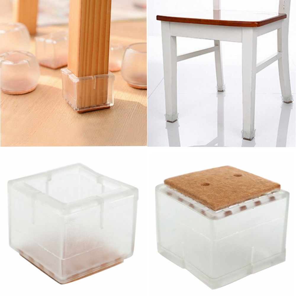 4pcs Large Square For 49-55mm Table Chair Leg Foot Protector Furniture Base Cap Cover Antiskid Floor Protection Silencer NO.17