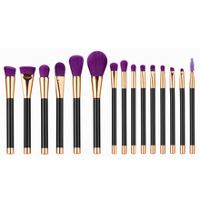 15pcs Purple Professional Makeup Brushes Set Powder Foundation Eyeshadow Eyeliner Lip Contour Concealer Smudge Brush Tool