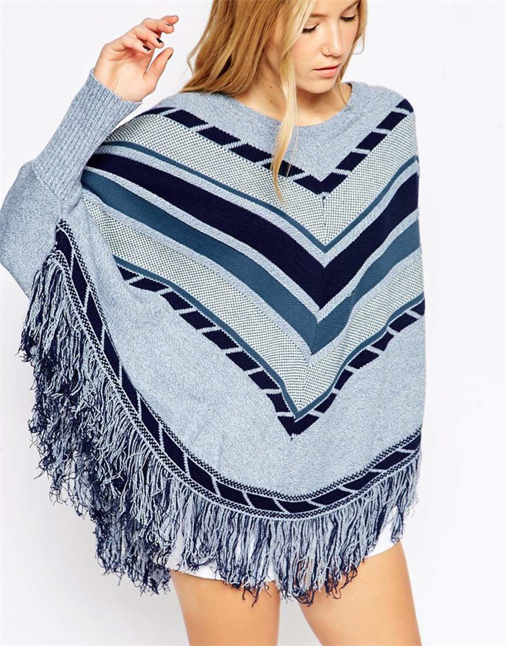 Maternity Tassel Cape Shawl Sweater Poncho Ladies' Cape with Fringed Hem Striped Patchwork Pullover Fashionable Retro Style curved hem striped tee dress